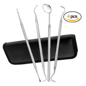 Dental Hygiene Tool Set Oral Care Tools Stainless Steel Dentist Tools Pick, Personal Use & Pet Dental Cleaning Kit 4 PCS