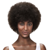 SLEEK 13cm Afro Short Curly Wigs for Black Women with Brazilian Hair (Fluffy Tight Curls, Darkest Brown) - Human Hair Wigs Short Wigs - Capless Wigs Afro Wig - African American Wigs HH MARY-B1