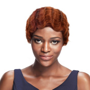 SLEEK Retro Red Mixed 7.6cm Short Finger Wave Wig with Brazilian Hair (Copper Red with Plum Red Roots) - Mommy Wig Human Hair Wigs Pixie Wig - Vintage Wigs for Women -Retro Wig Short Wigs for Black Women