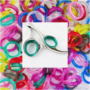 10 Sparkling Green Barber Hair Shears Scissors Finger Rings Grips Inserts 5 Sets- 5 Large + 5 Small, Soft Rubber Ring Sizer