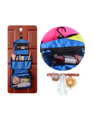 Hanging Toiletry Bag, Portable Travel Toiletry Case Organiser for Women Men Cosmetic Makeup Jewellery Bag with Mesh Pockets Sturdy Hook