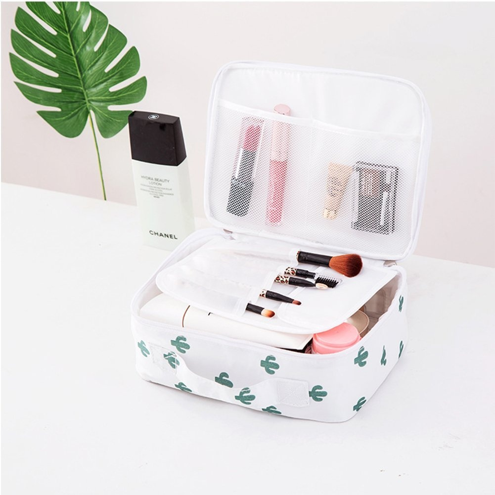 d71f49ea7f30 Yiuswoy Multifunction Travel Cosmetic Bag Portable Makeup Case Toiletry  Storage Organiser with Mesh Pockets - Cactus
