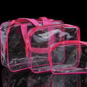 Hongxin 3Pcs/Set Large Storage Bag,Cosmetic Makeup Toiletry Clear PVC Travel Wash Bag Holder Pouch Kit,Transparent Waterproof Under Bed Storage