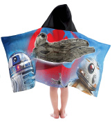 Star Wars Resistance Droids Blue/Black Cotton Hooded Bath/Pool/Beach Towel with R2