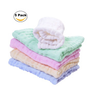 Kyapoo Baby Muslin Washcloths and Towels Premium Extra Soft Newborn Baby Face Towel Baby Registry as Shower Gift 5 Pack