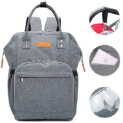 HaloVa Nappy Bag, Waterproof Travel Backpack, Large Capacity Nappy Bag Mummy Tote Bag for Baby Care with Independent Insulated Pocket, Side Tissue & Phone Pad Pocket & Stroller Hook, Grey