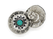 CRAFTMEmore 1.6cm Silver Flower Conchos Turquoise Dot Round Shape Metal Castings Screw Back Button Pack of 2