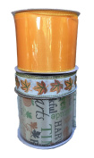 Autumn Leaves Orange Satin and Fall Words Bundle of Three Fall Themed Ribbons
