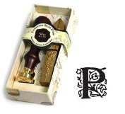 Initial Wax Seal Kit - Wood Handle with Gold Sealing Wax