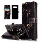 Galaxy Note 8 Case, S8 Case, Ranyi [Marble Design Wallet] [Card Holder / Card Slot] [Kickstand Feature] Luxury Flip Folio Leather Wallet Case for Samsung Galaxy Note 8 (2017 release), black/gold