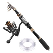 PLUSINNO Telescopic Fishing Rod and Reel Combos with Line Carbon Fibre Fishing Pole Portable Fishing Gear Stainless Steel Spinning Fishing Kit