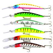 xlpace Fishing Lure Minnow Wobbler 14.5CM/14.7G Hard Baits Fishing Tackle Bass / Trout Bait 6pcs