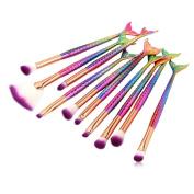 VWH 10Pcs Mermaid Foundation Eyeshadow Contour Eye Lip Makeup Brushes Set Beauty Tools