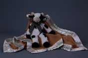 """""""Hey Diddle, Diddle The Cat And The Fiddle"""" Nursery-Rhyme-Embroidered Baby Blanket w/ Stuffed Cow - Size 80cm x 80cm"""