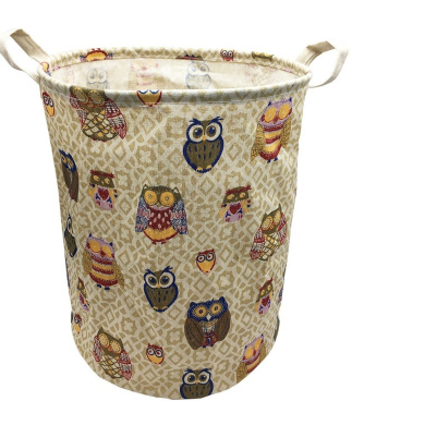 Large Storage Basket with Handles, Collapsible Nursery Baby Laundry Hamper Storage Bin Organiser, Decorative and Convenient for Kids Bedroom (Colourful Owl)