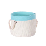 Two Tone Woven Basket With Rope Handles, Blue