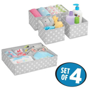 mDesign Soft Fabric Dresser Drawer and Closet Storage Organiser Set for Child/Baby Room or Nursery – 8 Organising Bins - Polka Dot Pattern, Set of 4, Light Grey with White Dots