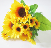 Artificial Sunflower Bouquet Artfen Artificial Silk Flower Plant Home Hotel Office Wedding Party Garden Craft Art Decor 33cm