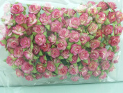 100 Cerise & White Rose Mulberry Paper Flower Scrapbook Wedding Craft 1.5cm