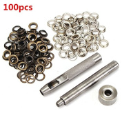 New 100pcs 8mm Copper Eyelets Hollow Leather Craft Belt Punch Tools Kit