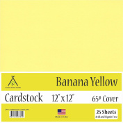 Banana Yellow Cardstock - 30cm x 30cm - 29kg Cover - 25 Sheets