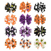 Coobbar 12pcs 7.6cm Halloween's Day Bow Knot Hair Pins Handmade Hair Accessories