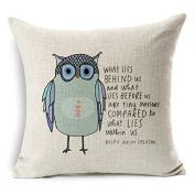 Owl Pattern Cotton Linen Square Throw Pillow Case Decorative Cushion Cover Pillowcase