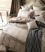 Luxury Soft Sateen Cotton Duvet Cover Set Beige Colour, European Exquisite Handmade Plaid Pattern, Extra Smooth, Durable, Skin-Friendly, King Size, Zipper Closure