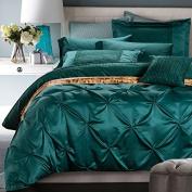 Vintage Green Wedding Duvet Cover Set with European Handcraft Folding Design, Washed Silk Romantic Luxury Bedding Set King Size, Reversible, Ultra Soft