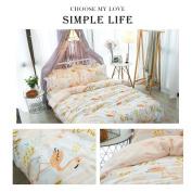 Colourful Kids/Children Duvet Quilt Cover Set Twin Size, Premium Cotton Bedding Set with Flamingo Printed Pattern, Hypoallergenic, Luxurious, Durable
