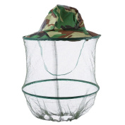Camouflage Anti-mosquito Fishing Mesh Face Protection Head Protector Mask Cap Insect Net Hat for Outdoor Activity Camping Hiking Picnic