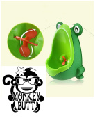 Boys Urinal Toddler Toilet Training Child Potty Trainer Hangs on wall in bathroom Green Fun Aiming Target Portable includes suction cups