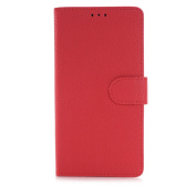 Galaxy Note 5 Case,TONERONE Genuine Leather Ultra Thin Slim Litchi Pattern Card Slot Business Back Cover for Samsung Galaxy Note 5 Pro,Red
