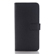Galaxy S7 Case,TONERONE Genuine Leather Ultra Thin Slim Litchi Pattern Card Slot Business Back Cover for Samsung Galaxy S7 Pro,Black