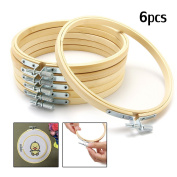 KINGSO 6 pieces 6 inch (15 cm) Wooden Embroidery Hoops Adjustable Bamboo Quilting Cross Stitch Hoop Ring Embroidery Circle Set for Art Craft Handy Sewing