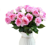 AliceHouse 16pcs Bridal Wedding Bouquet Real Touch Artificial Silk Rose Bouquets Wedding Home Decoration AF001 White & Pink
