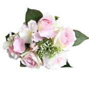 CMrtew 8 Heads Artificial Silk Fake Roses Flowers Wedding Party Home Bouquet Bridal Decor