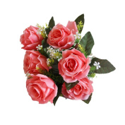 CMrtew 7 Heads Artificial Silk Fake Roses Flowers Wedding Party Home Bouquet Bridal Decor
