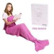 Mermaid Tail Blanket, Amyhomie Mermaid Blanket Adult Mermaid Tail Blanket, Crotchet Kids Mermaid Tail Blanket for Girls