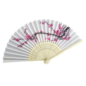 Fabal Fans Elegant Plum Blossom Flower Print Folding Hand Fans Summer Women Girl Dancing Fan