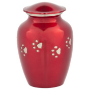 Red with Silver Paw Prints Pet Urn, Medium, Aluminium, Dog or Cat Ashes, 15cm Tall