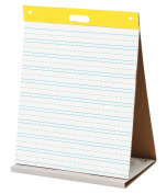 Easel Pad. Self-stick Tabletop Unruled Pad White 20 Sheets Chart Paper Post-it. Best For School, Office, Home, Educational Establishments & Small Group Activities. 50cm x 60cm White w/ Primary Lines