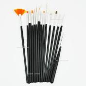 Beauties Factory 15 pcs Nail Art Brush Set Acrylic UV Gel Liner Drawing Dotting Salon Home Use (Black