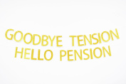 Firefairy™ Goodbye Tension Hello Pension Gold Glitter Banner Bunting-Retirement Party Supplies,Gifts and Decorations