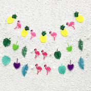 3 Strings Hawaii Flamingo Party Banner Decoration Pineapple Tropical Leaves Party Supplies Pink Flamingo Photo Booth Props L005
