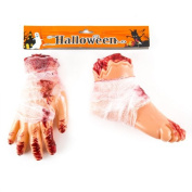 Halloween Bloody Limbs Value Pack - Hand & Feet | Perfect Halloween Horror Haunted House Yard Decorations