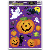 Halloween Party Accessories - 27 Characters & Pumpkin Clings - Decoration Wall Window Clings Jack-O-Lantern