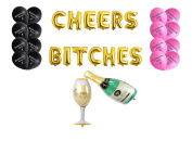 80cm CHEERS BI*CHES Foil Letter Balloons + 2pcs 90cm Champagne Glass + 16pcs Black / Pink Bachelorette Party Balloons for Girls Nights Out