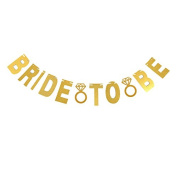 """""""BRIDE TO BE"""" Wedding Banner, Gold Glitter Party Hanging Letter Banner Pennant Photo Booth Props Decorations with 2 Diamond Pattern and String"""
