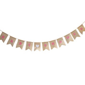 """""""BABY SHOWER"""" Printed Pink Burlap Bunting Banner Garlands with White Heart, Party Banner with String for Wedding Party Holiday Decoration"""